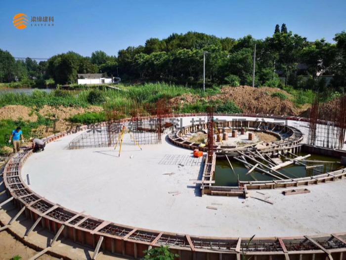 汉威木构苏北特色胶合木结构项目基础进入预埋阶段,即将迎来上部施工