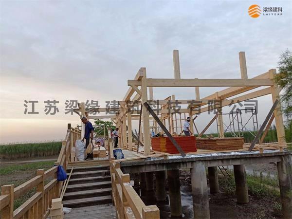 双山岛茶室(木屋建筑)项目施工过程